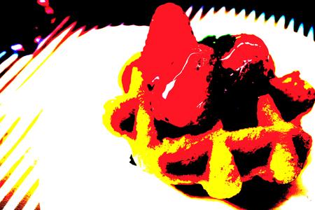 ポスタリゼーション(カラー)で撮ったいちごのワッフルの食品サンプル