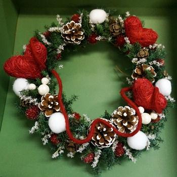 イイハナ ディズニー ドライフラワーリース「ミッキー&ミニーのクリスマス」