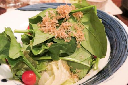 ほうれん草とじゃこのサラダ 魚バカ一代 日本橋店
